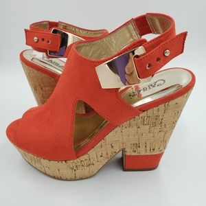 Carlos Santana Bristol Red Suede Wedge Sandals